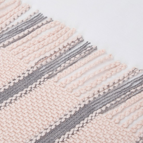 Striped Blanket with Fringe Detail - 152x127 cms