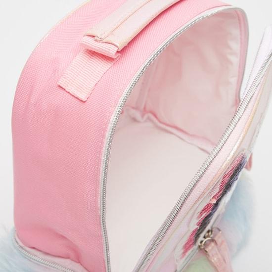 حقيبة ظهر مزينة بفراشات وتفاصيل فرو ومقبض علوي