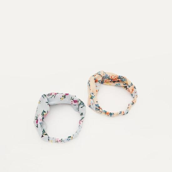 شريطة شعر بطبعات أزهار - طقم من قطعتين