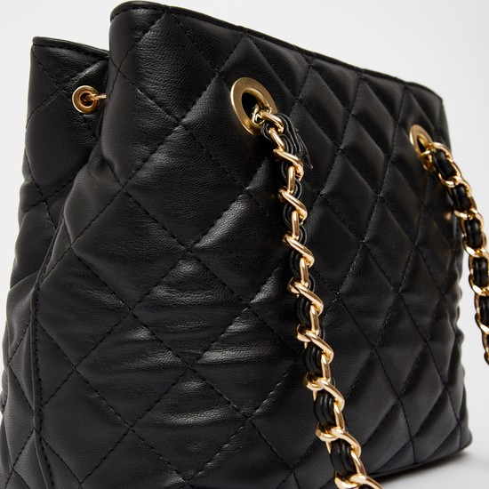 Quilted Handbag with Zip Closure and Detachable Strap
