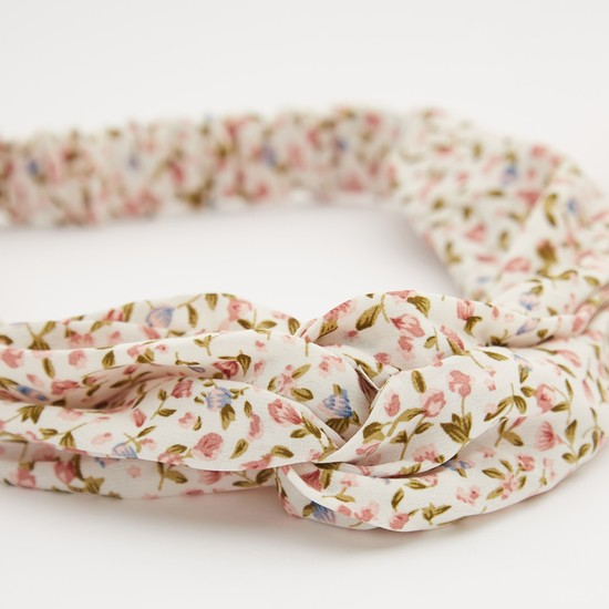 Pack of 2 - Floral Print Elasticised Hair Band with Knot Detail