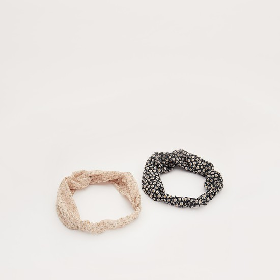 Pack of 2 - Floral Print Elasticised Hairband with Knot Detail