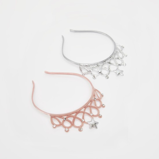 Set of 2 - Textured Hairband with Crown Accent