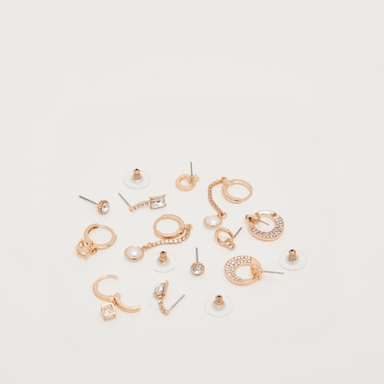 Set of 6 - Embellished Detail Earrings with Pushback Closure