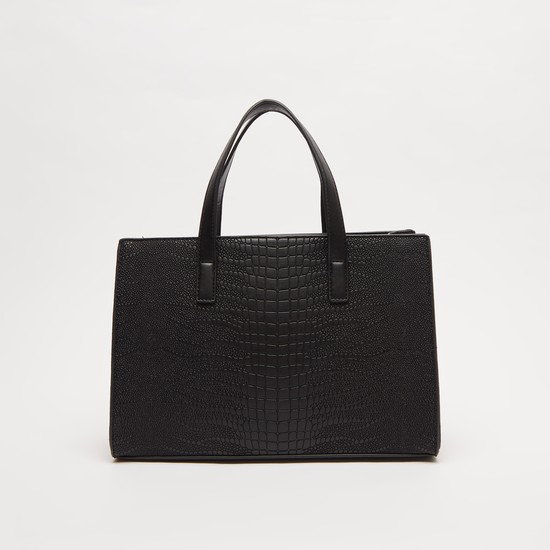 Textured Handbag with Twin Handle and Detachable Strap