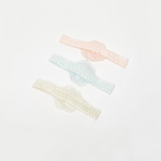 ربطة شعر بتزيينات زهرية وتفاصيل دانتيل - طقم من 3 قطع