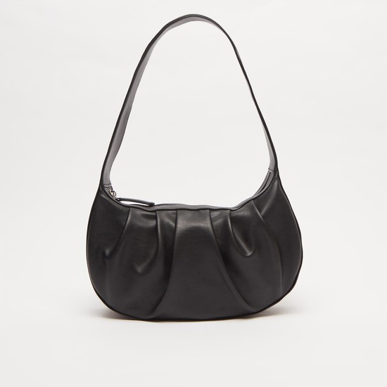 Solid Handbag with Shoulder Strap and Zip Closure