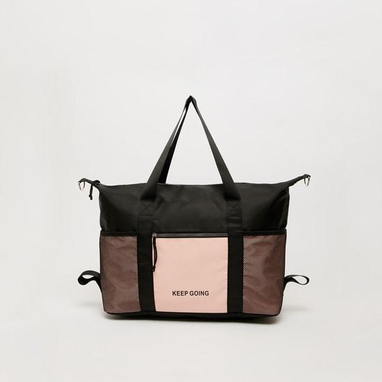 Text Print Handbag with Twin Handle and Detachable Strap