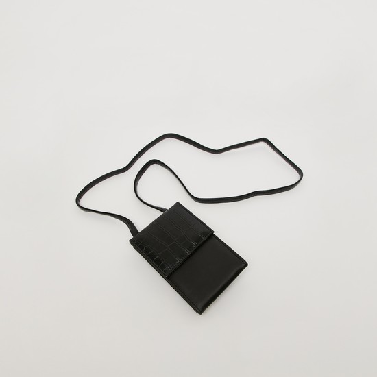 Textured Tri-Fold Crossbody Bag with Strap and Magnetic Snap Closure