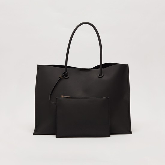 Solid Tote Bag with Pouch and Twin Handle