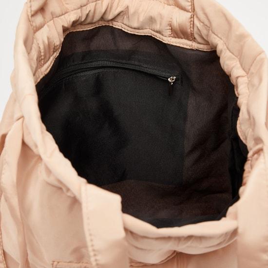 Solid Fabric Handbag with Drawstring Closure