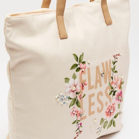 Embellished Handbag with Twin Handles