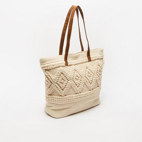 Textured Handbag with Twin Handle