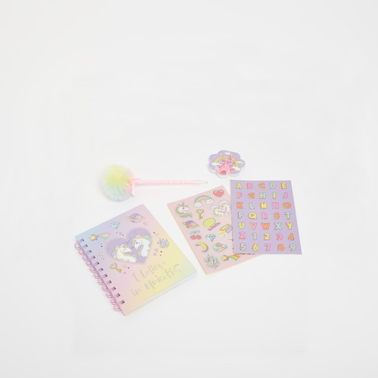 Unicorn Print 5-Piece Stationery Set