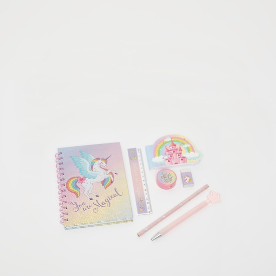 Unicorn Print 7-Piece Stationery Set