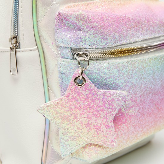 Glitter Accent Backpack with Adjustable Straps and Zip Closure