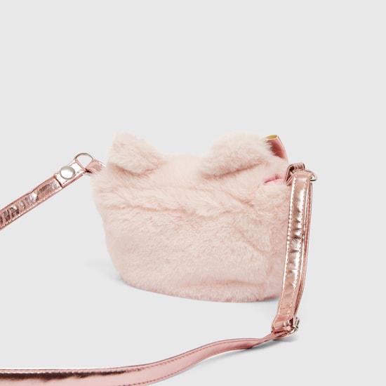 Plush Detail Crossbody Bag with Adjustable Strap