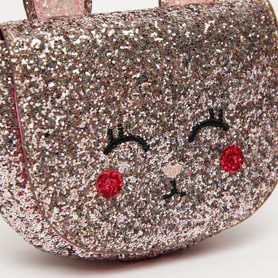 Glitter Accent Crossbody Bag with Applique Detail and Strap