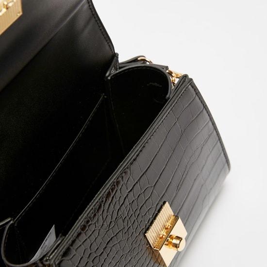 Reptilian Textured Handbag with Adjustable Sling Strap