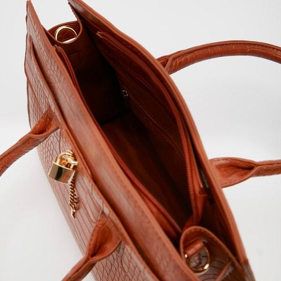 Textured Handbag with Zip Closure and Metallic Charm