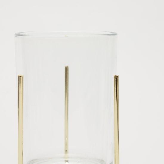 حامل شموع زجاجي أسطواني للزّينة - 19x11x11 سم