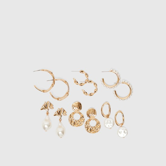 Set of 6 - Assorted Metallic Earrings