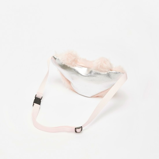 Plush Detail Embroidered Fanny Pack with Zip Closure