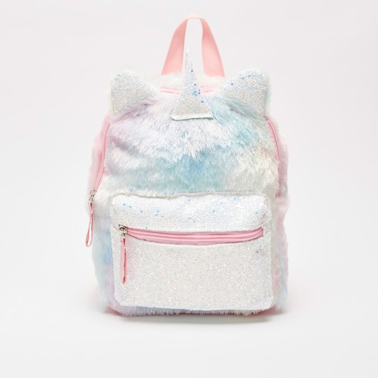 Plush Detail Backpack with Zip Closure and Adjustable Straps