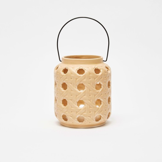 Cut Worked Ceramic Lantern with Handle