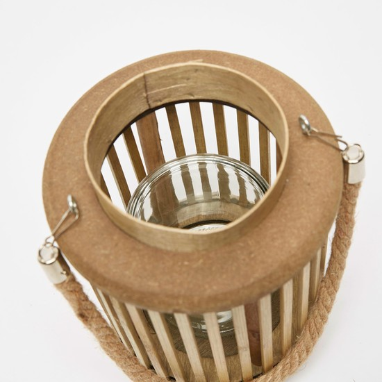 Bamboo Lantern with Handle and Glass Holder