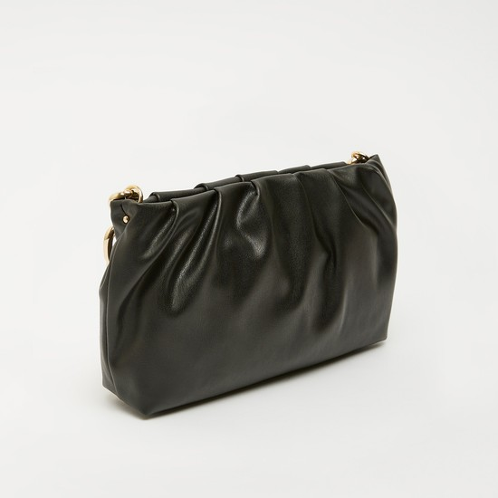 Solid Handbag with Chain Handle and Zip Closure