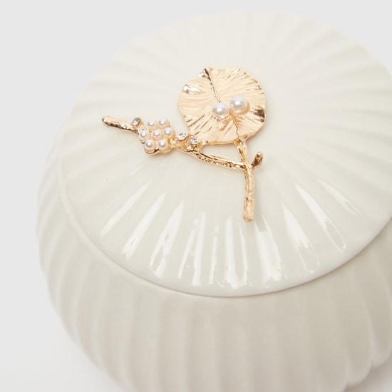 صندوق مجوهرات مزخرف بغطاء - 12.3x12 سم