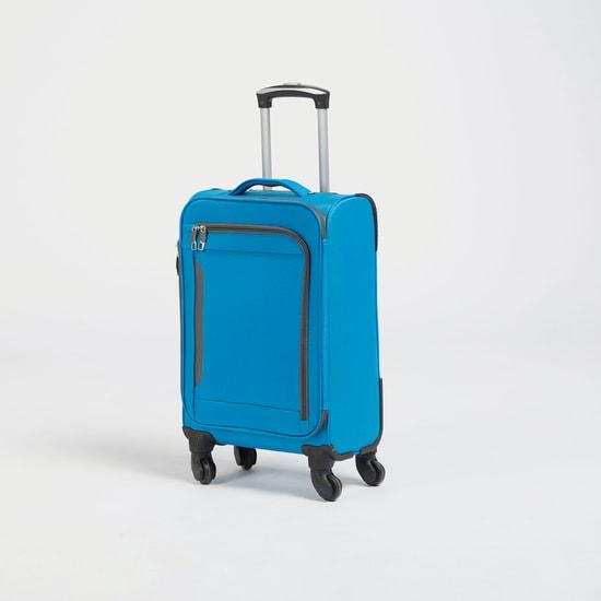 شنطة سفر ترولي بارزة الملمس بمقبض قابل للسحب