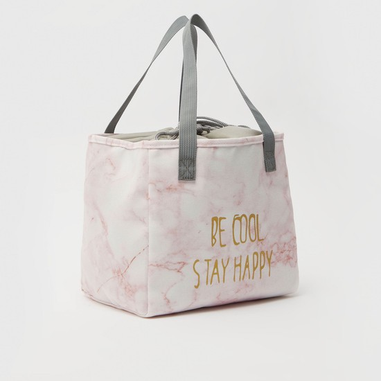 Printed Lunch Bag with Twin Handle and Drawstring Closure
