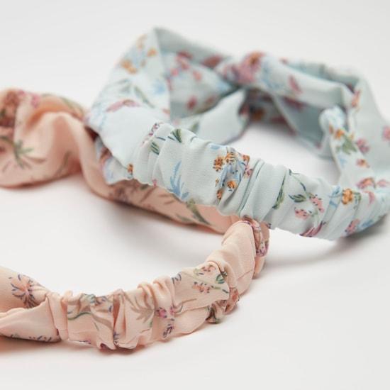 ربطة رأس بطبعات زهرية ــ طقم من قطعتين