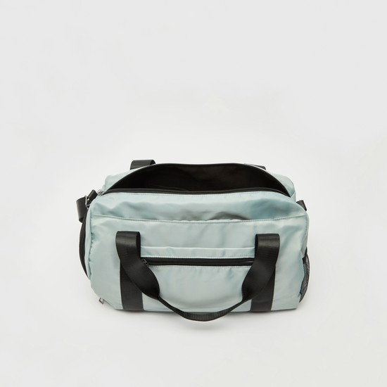 Text Print Duffel Bag with Twin Handle and Adjustable Strap
