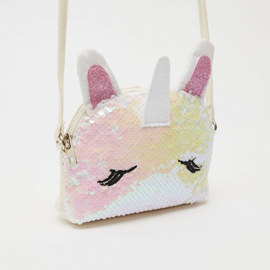 Unicorn Sequin Detail Crossbody Bag with Zip Closure