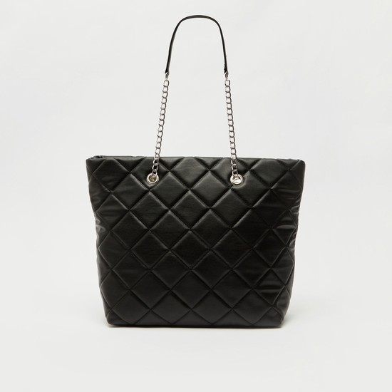 Quilted Tote Bag with Metallic Strap