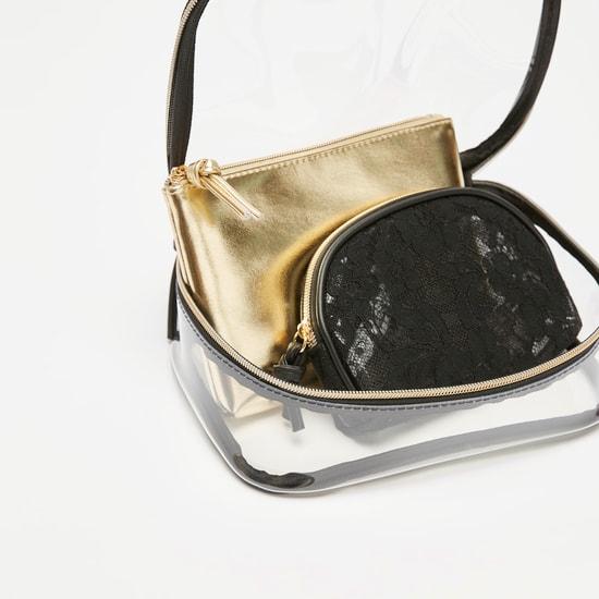 طقم حقائب صغيرة بارزة الملمس بسحّاب إغلاق - 3 قطع
