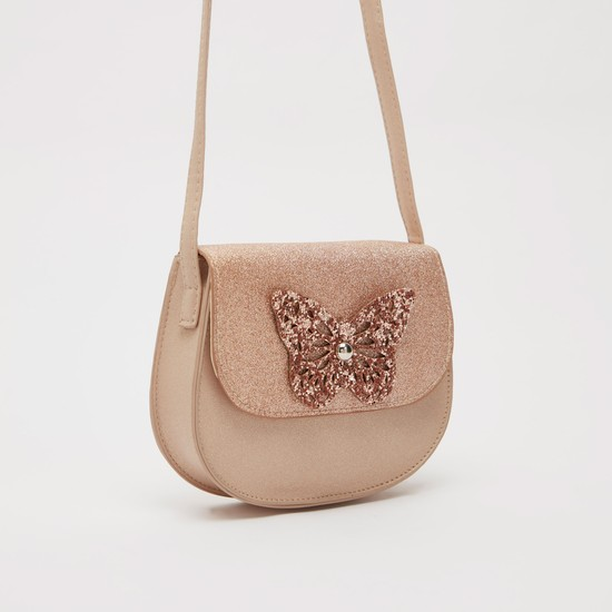 Butterfly Applique Crossbody Bag with Magnetic Snap Closure