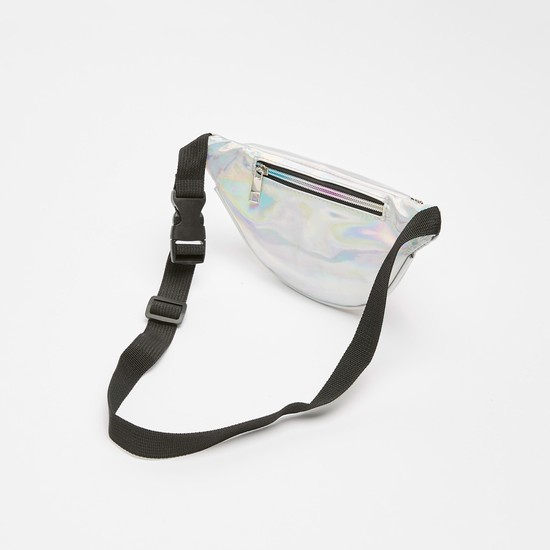 Embroidered Detail Fanny Pack with Buckle and Zip Closure