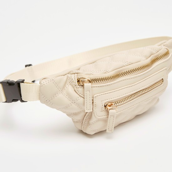 حقيبة خصر مبطنة بإبزيم إغلاق وسحّاب وطبعات