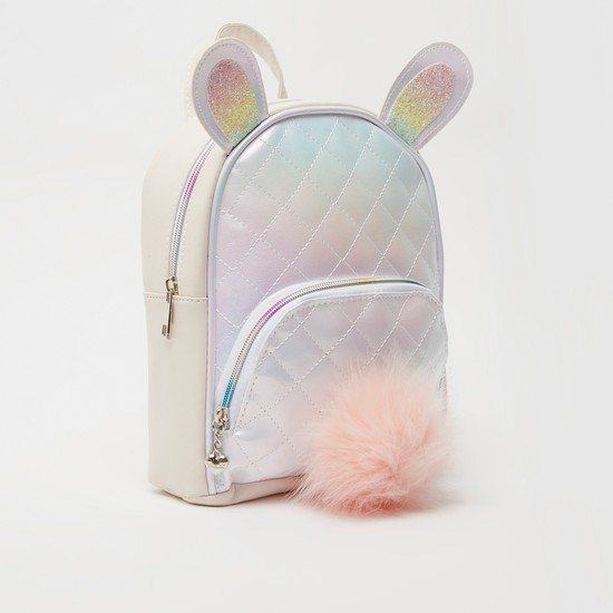 Textured Backpack with Pom-Pom Detail and Adjustable Straps