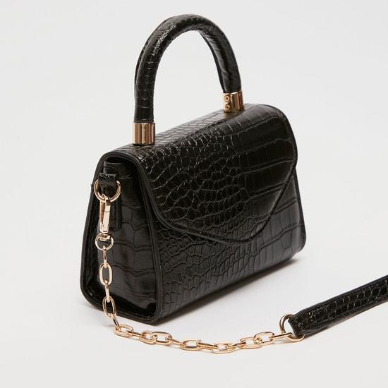 Reptilian Textured Handbag with Detachable Strap