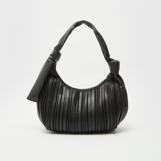 Textured Handbag with Strap and Zip Closure