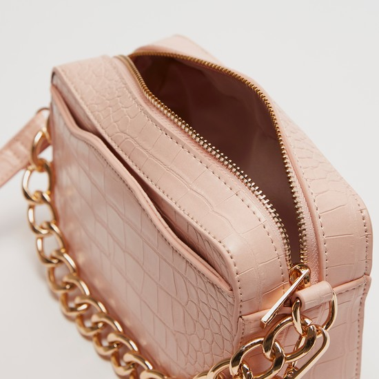 Textured Crossbody Bag with Detachable Strap and Zip Closure