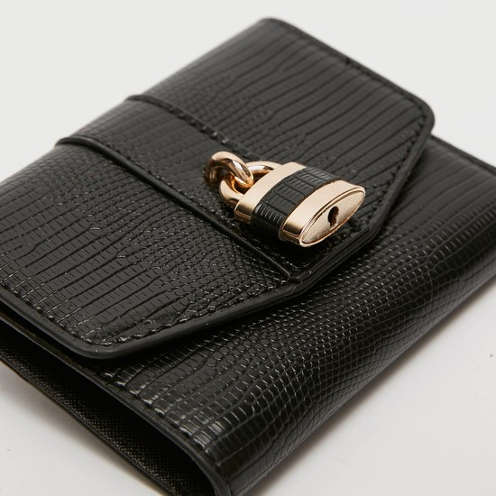 Reptilian Textured Wallet with Lock Charm