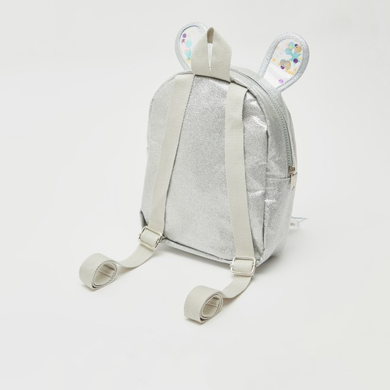 Embellished Backpack with Applique Detail and Zip Closure