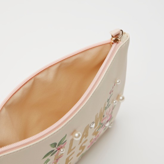 Printed Pouch with Applique Detail and Zip Closure