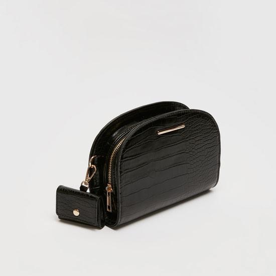Reptilian Textured Crossbody Bag with Detachable Strap
